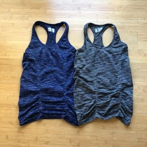 Two Athleta Ruched Workout Racerback Tank tops